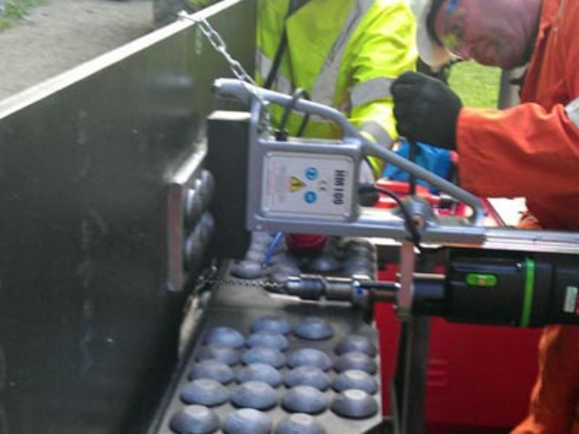 test assembly of steel repair plates for M4 motorway viaduct