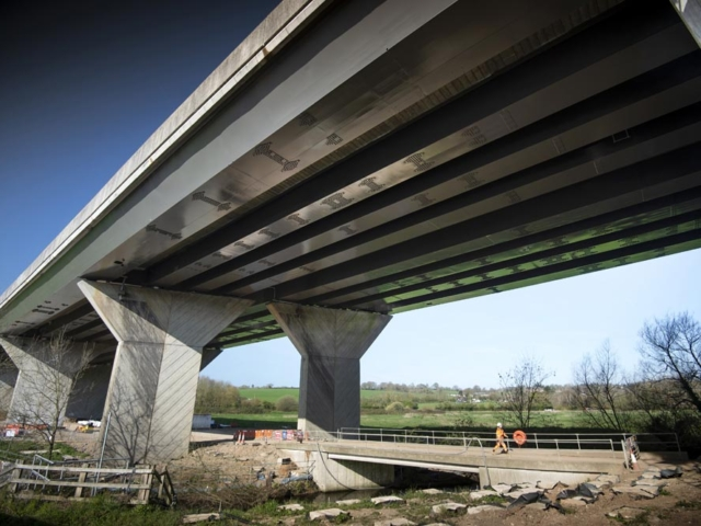 underside of Gade Valley Viaduct showing stiffener plates installed by BS Steels