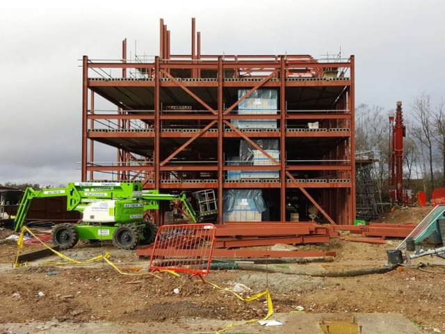 steel structure of old thorns manor hotel apartments