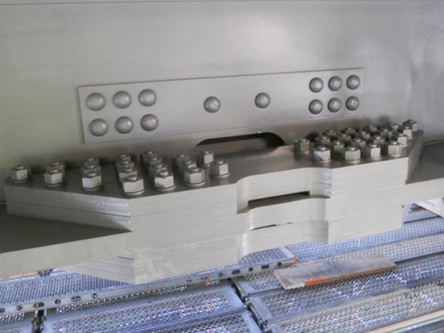 steel plates for M4 motorway viaduct repair, showing tension control bolts (TCBs)