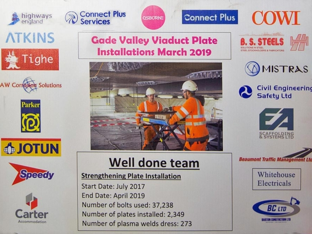 m25 gade valley viaduct board at topping out ceremony