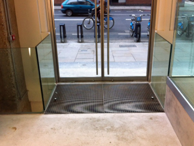 steel and glass features in retail area by bs steels