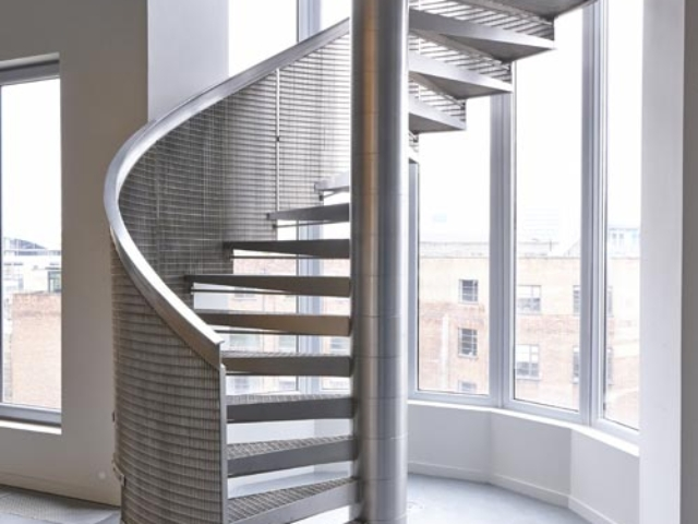feature spiral staircase in stainless steel shoreditch london