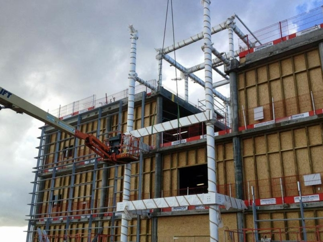 London Gateway reception building during erection by BS Steels installation team