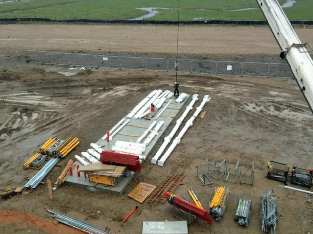parts of london gateway port reception building awaiting assembly