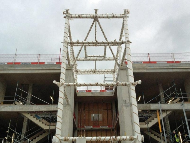 steel framework front atrium london gateway reception building