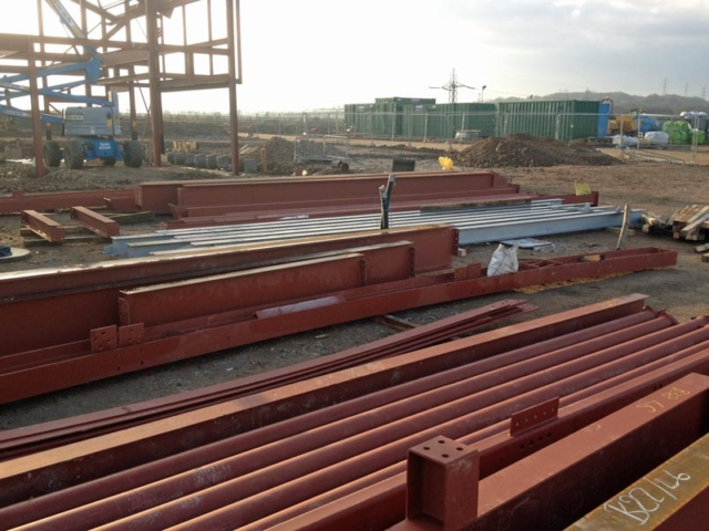 steel components from bs steels awaiting erection north kent community church