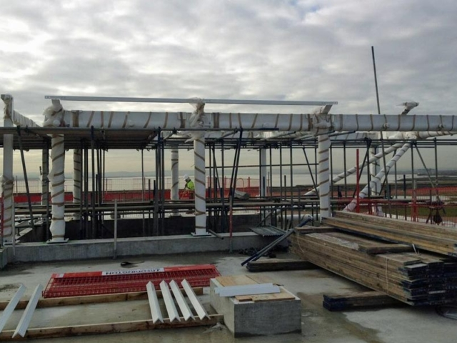 roof of London Gateway reception building created and installed by BS Steels