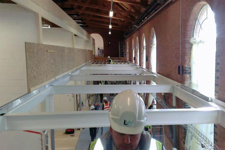 mezzanine steel framework installed for conversion of listed building HMS Temeraire Portsmouth