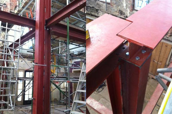 Steel installed by BS steels to support fire ravaged Ryde Castle Hotel