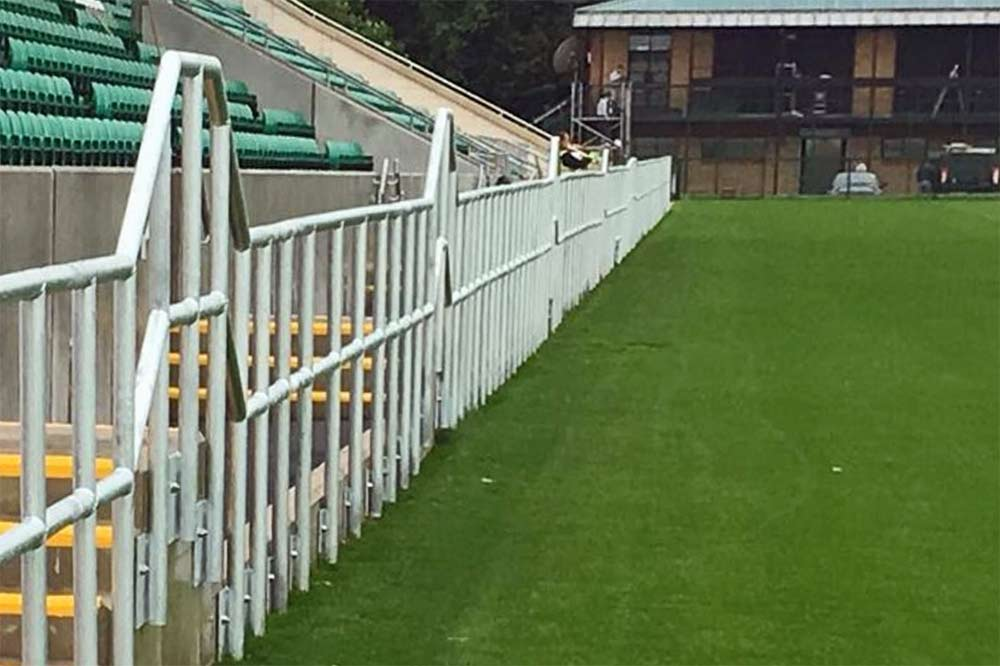 100-metre run of crowd barrier fabricated and installed by BS Steels, GAA ground Ruislip