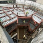 aerial view steel framework and floors 66-74 notting hill gate