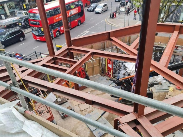 steelwork frame by bs steels 66-74 notting hill gate