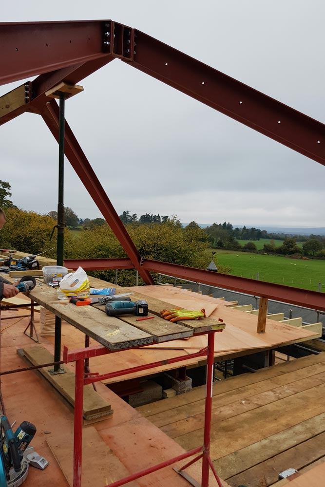 steel roof structure new build
